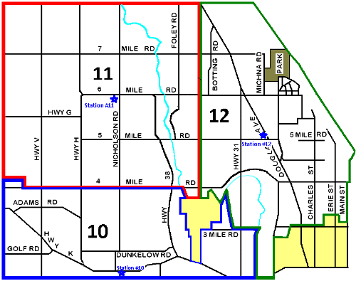 Caledonia Fire Department Station District Map